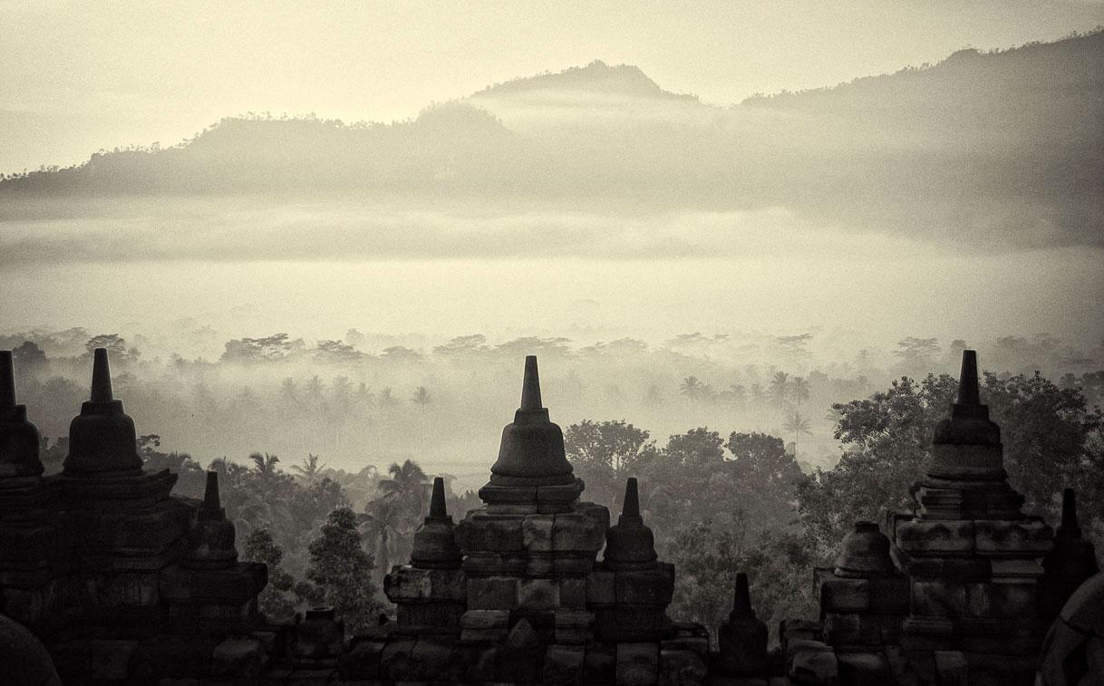 Buddhist Pagodas, Borobudur, Java