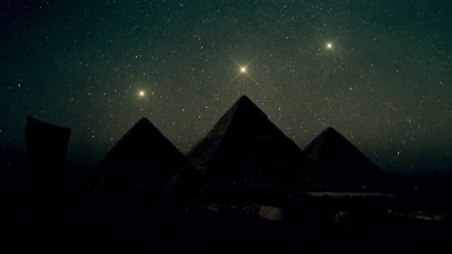 Orion Constellation Stars Aligned Above The Pyramids of Giza